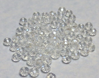Glass Beads - 42 pcs - Crystal Clear - Faceted - 6mm x 4mm - Rondelles