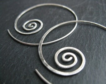Unfolding spiral open hoops,  geometric earrings, hammered pull through tribal coil hoops, thread through earrings, 925 silver or  brass