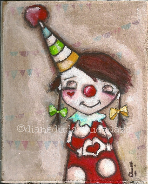 Print of my Original Folk ARt Painting - Funny Valentine
