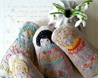 embroidered dolls or sampler PDF pattern and instructions