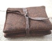 Balsam sachets, brown wool tweed,  set of two sachets