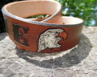 Patriotic Dog - Eagle - Leather Dog Collar - Personalized