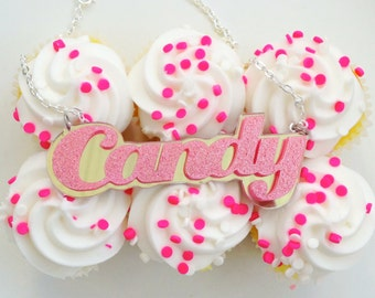 Pink Glittery CANDY Necklace