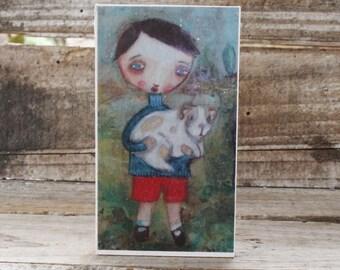 mini art print, 'Spring, Boy', open editon, block mounted