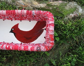 CARDINAL  hand painted bird BASKET tray  A Series of Birds
