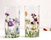 Glass Tumblers, Set of 2  - Wild Flowers Bouquet Collection
