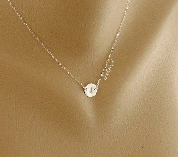 Custom Initial Necklace, Solitary Tiny Disc Charm Sterling Silver Necklace, Simple Daily Jewelry, Birthday, Bridesmaid Necklace