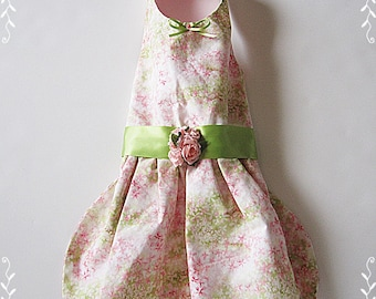 Dog Dress Garden Party Dog clothes  pets on etsy Pink and Green floral small dog dress tiny dog clothes dress your dog