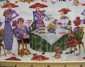 Fat Quarter Red Hat Ladies Fabric Sisterhood of Purple Red Hat Ladies Luncheon Tea Fabric - Jody Houghton for Free Spirit - OOP