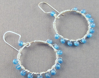 Sterling Silver Hoops with Blue Glass Beads