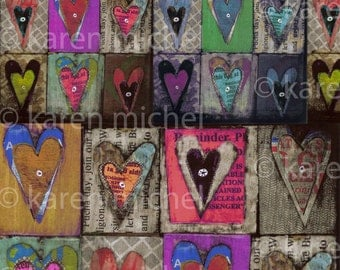 INSTANT DOWNLOAD - Art Journal Digital Collage Sheet - Mixed Media Hearts