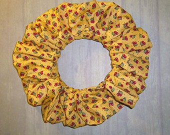 Tiny Cherries on Yellow Hair Scrunchie, Themed Cotton Ponytail Holder, Hair Tie