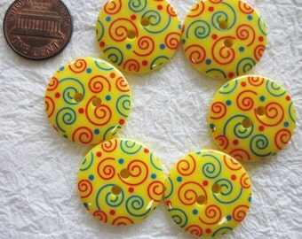 Swirl yellow Buttons 23 mm. - 15 pcs