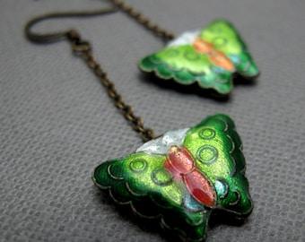 Green Butterflies Cloisonne Earrings // Brass Chains // Green Butterfly Cloisonne Beads // Gift under 15