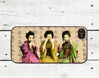 Geisha Trio Phone Case See No Evil Hear No Evilfor iPhone 4 4s 5 5s 5c SE 6 6s 7  6 6s 7 Plus Galaxy s4 s5 s6 s7 Edge