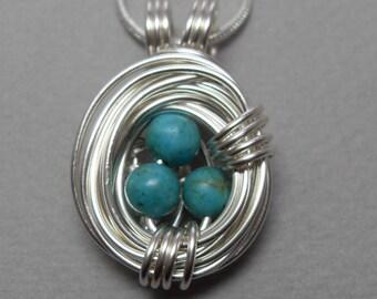 Silver Robin's Egg Nest Necklace