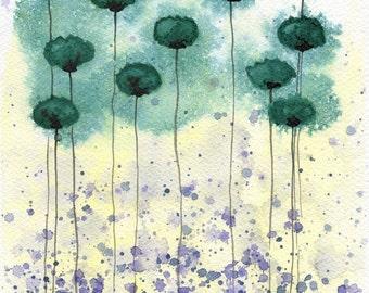 Watercolor Painting: Watercolor Flower Painting - Art Print - Aqua Twinge - Teal Watercolor Flowers - 8x10