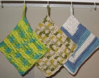 Three Crochet Dishcloths - Pattern