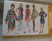Vintage 1970 Simplicity 9219 Misses Dress in Two Lengths with Sash Belt Uncut B38