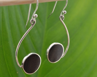 Salsera Ecofriendly Earrings - wood and recycled sterling dangles