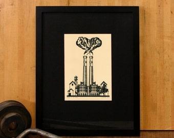 Factories in Love - 5x7 Letterpress Linoleum print