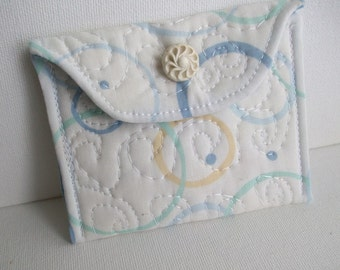 Quilted Little Case, Rosary Case, Card Case, Pouch, Bridesmaid Gift, white, blue, organizer, First Communion, money wallet, ready-to-ship