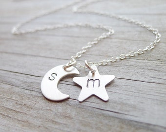Petite Moon Star Initial Necklace Star Moon Necklaces Silver Two Initial Charms Mom 2 Monogram Pendants Personalized Jewelry Gifts for Mom
