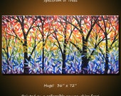 """Huge Art Rainbow Painting Modern Landscape """"Spectrum of Trees"""", 36"""" x 72"""" Living room art... extra large canvas, free US shipping"""