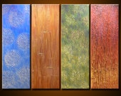"""Abstract Art Painting Original Large Modern Art Wall Decor deep texture... 30"""" x 40"""", 4 ready to hang canvases, """"Tapestry"""""""
