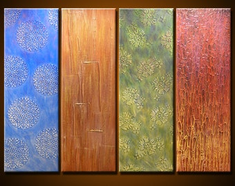 "Abstract Art Painting Original Large Modern Art Wall Decor deep texture... 30"" x 40"", 4 ready to hang canvases, ""Tapestry"""