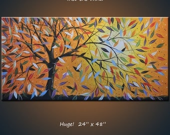 Art Original Large Abstract Painting Wall Decor Modern Contemporary Landscape Tree Sky  .. red yellow blue green black ... 24 x 48