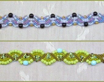 Micro Macrame PATTERN -  Mosaic Fans Bracelet with Button Closure