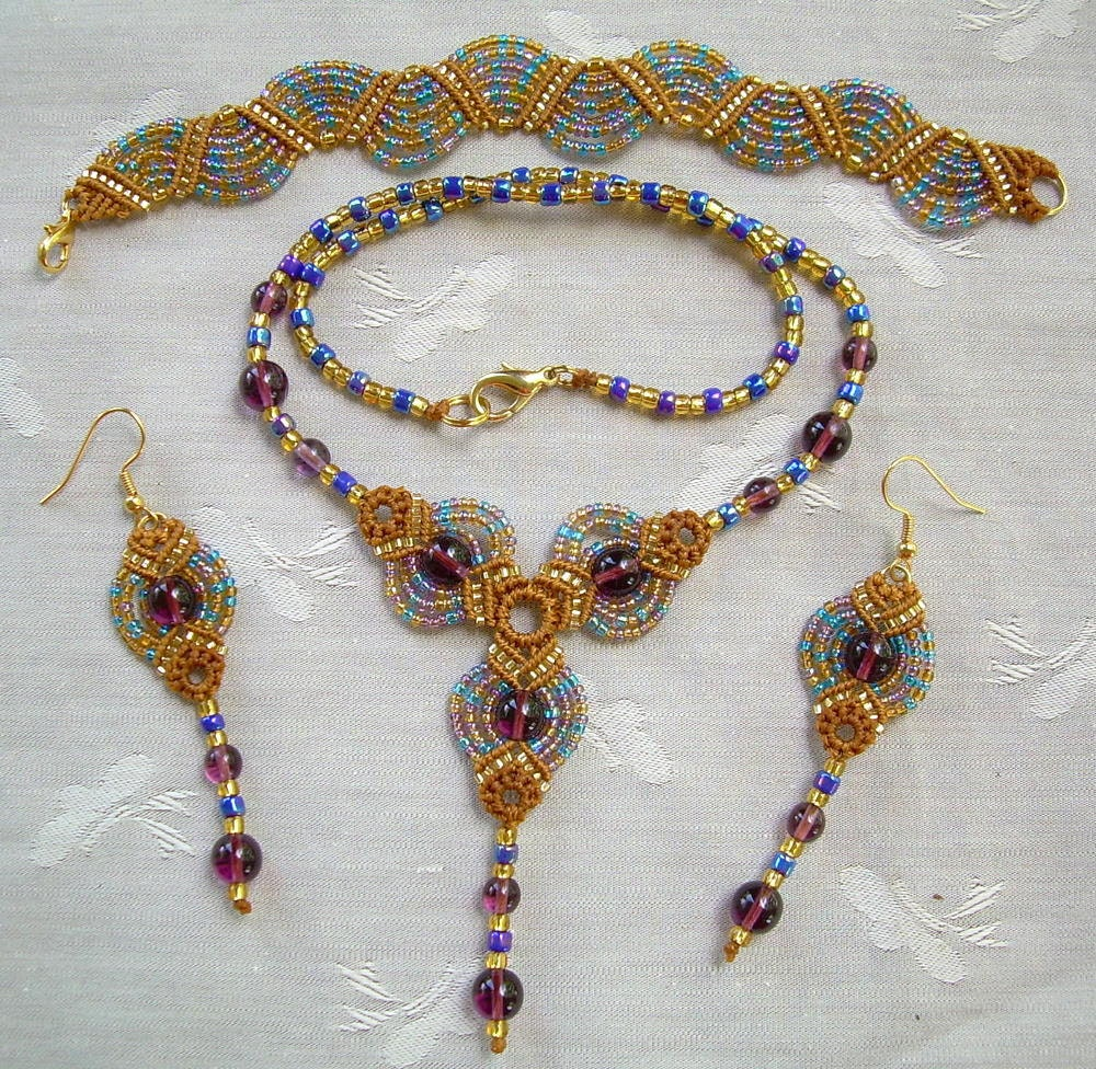 macrame jewelry patterns micro macrame pattern classic fans jewelry set 770