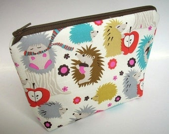 Padded Large Hedgehog Meadow Flat bottom Zipper Pouch Gadget Case Cosmetic Bag ECO Friendly