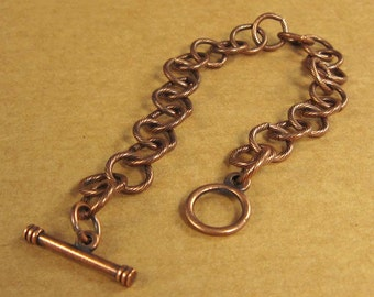 Looped Chain Link Charm Bracelet in Antique Copper Finish