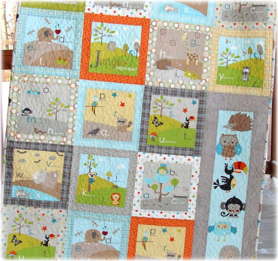 baby boy quilt life in the jungle gender neutral custom made