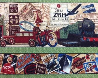 Wilmington Print Fabric TransAtlantique Strips Green Bkg 1 yard