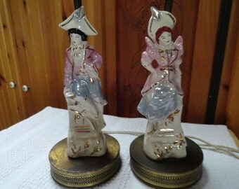 Table Lamps, His and Hers Boudior Lamps With Ceramic Porcelain Figurines