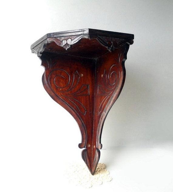 Vintage Carved Wood Shelf/ Corner Wall Victorian Decor