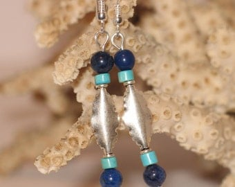 Sterling, Turquoise and Lapis Earrings