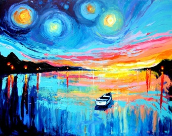 Midnight Harbor 50 - 18x24 abstract boat signed print reproduction by Aja ebsq