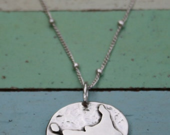 Nantucket Map Sterling Silver Necklace