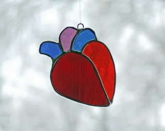 Valentine's Day Gift Glass Art Noodle Meets Funky Retroglide German Flashed Antique Glas Heart