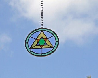 Eco friendly Gift - Stained Glass Medallion with Recycled Glass and Cosmic Energy - Mother's Day Gift