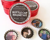 Bottle Cap Magnet Kit  to make 5 Magnets. EASY to use. No GLUE. No MESS.