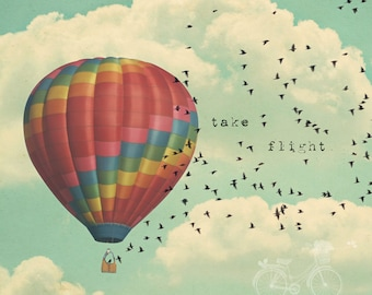 Fine Art Photo, Typography Art, Hot Air Balloon Photo, Sky, Clouds, Birds, Fly, Take Flight, Teal, Red, Nursery Art, Square Print, Whimsy