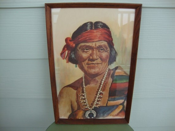 Vintage 1950s Chief Joe Sekakuku Hopi Snake Chief by E. H. Bischoff Native American Painting Framed Print