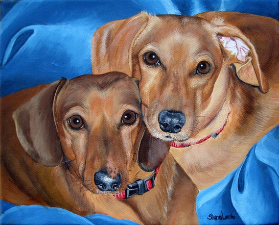 Custom Hand Painted 16x20 Two Pet Painting Your Pets any Animal Dog Cat or Horse