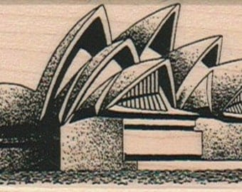 Sydney Opera House rubber stamp,  wood mounted art and craft supplies  7003  travel vacation Australia