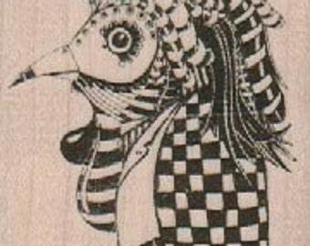 mounted rubber  stamp  Whimsical Bird In Plague Maskoriginal design mary vogel lozinak 19160